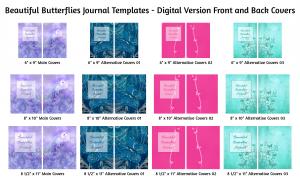 Beautiful Butterflies Journal Templates Digital Version Covers