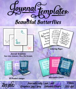 Beautiful Butterflies Journal Templates Front Cover
