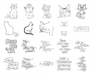 Cuddly Kitties Journal Template Coloring Page Graphics