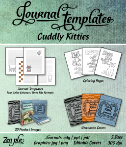 Cuddly Kitties Journal Template Front Cover