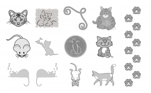 Cuddly Kitties Journal Template Journal Graphics Grayscale