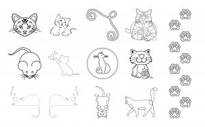 Cuddly Kitties Journal Template Journal Graphics Lineart