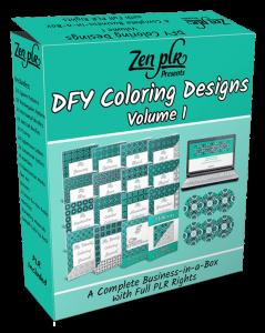 Zen PLR DFY Coloring Designs Volume 01 Full Product Software Box
