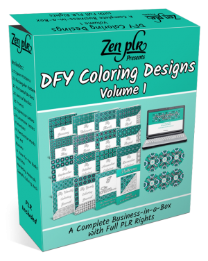 Zen PLR DFY Coloring Designs Volume 01 Full Product Software Box