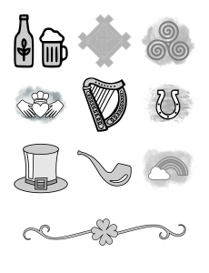 Irish Icons Journal Template Journal Graphics Grayscale