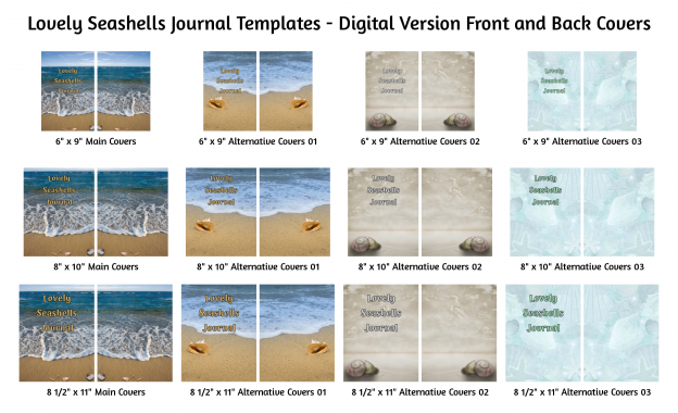 Lovely Seashells Journal Templates Digital Version Covers