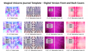 Magical Unicorns Journal Template Digital Version Covers