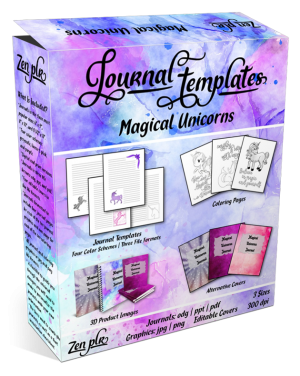 Magical Unicorns Journal Template Product Cover