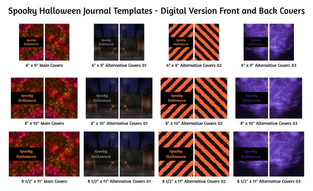 Spooky Halloween Journal Templates Digital Version Covers