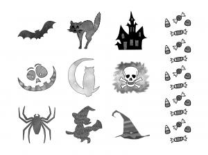 Spooky Halloween Journal Templates Journal Graphics Grayscale