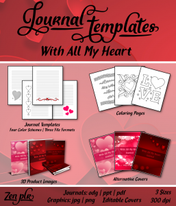 With All My Heart Journal Template Front Cover