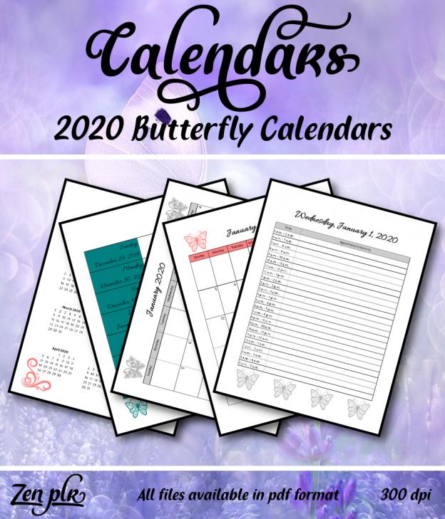 Zen PLR 2020 Butterfly Calendars Front Cover