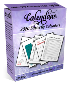 Zen PLR 2020 Butterfly Calendars Product Cover