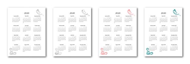 Zen PLR 2020 Butterfly Calendars Yearly Calendars