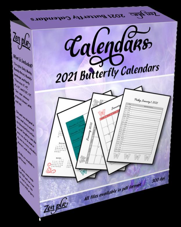 Zen PLR 2021 Butterfly Calendars Product Cover