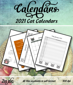 Zen PLR 2021 Cat Calendars Front Cover