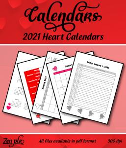 Zen PLR 2021 Heart Calendars Front Cover