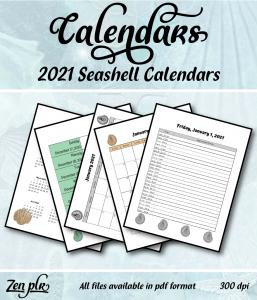 Zen PLR 2021 Seashell Calendars Front Cover