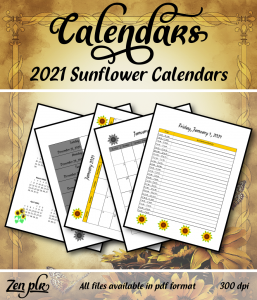 Zen PLR 2021 Sunflower Calendars Front Cover