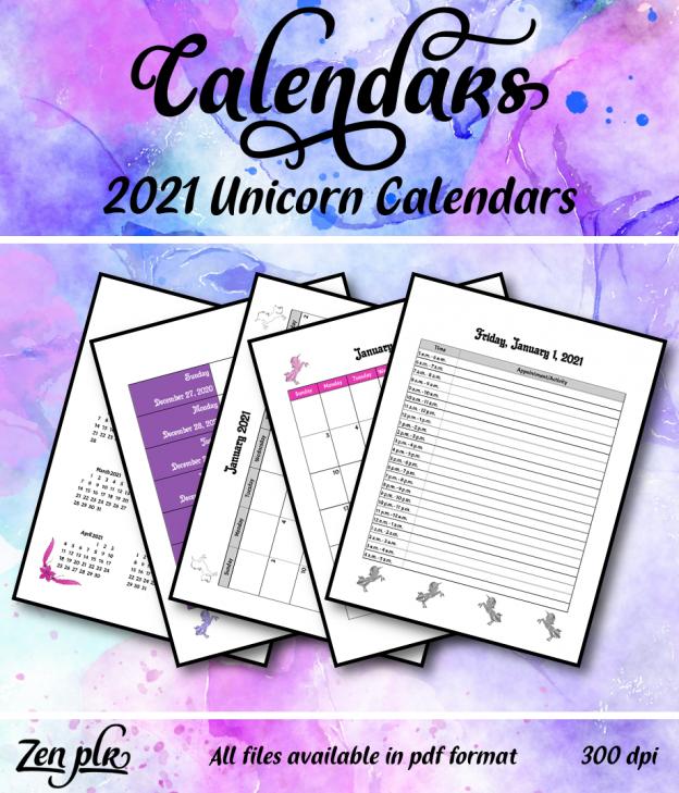 Zen PLR 2021 Unicorn Calendars Front Cover