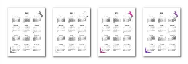 Zen PLR 2021 Unicorn Calendars Yearly Calendars
