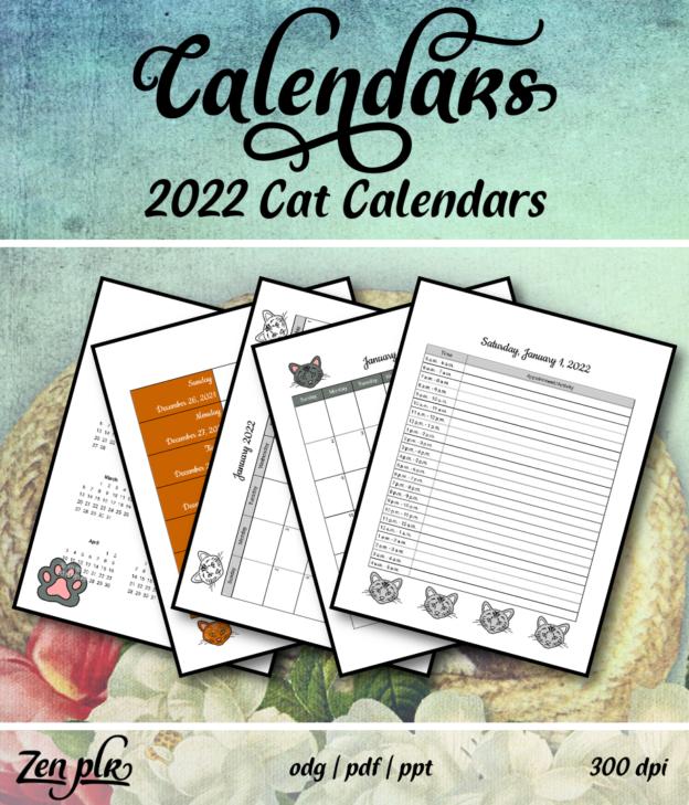 Zen PLR 2022 Cat Calendars Front Cover