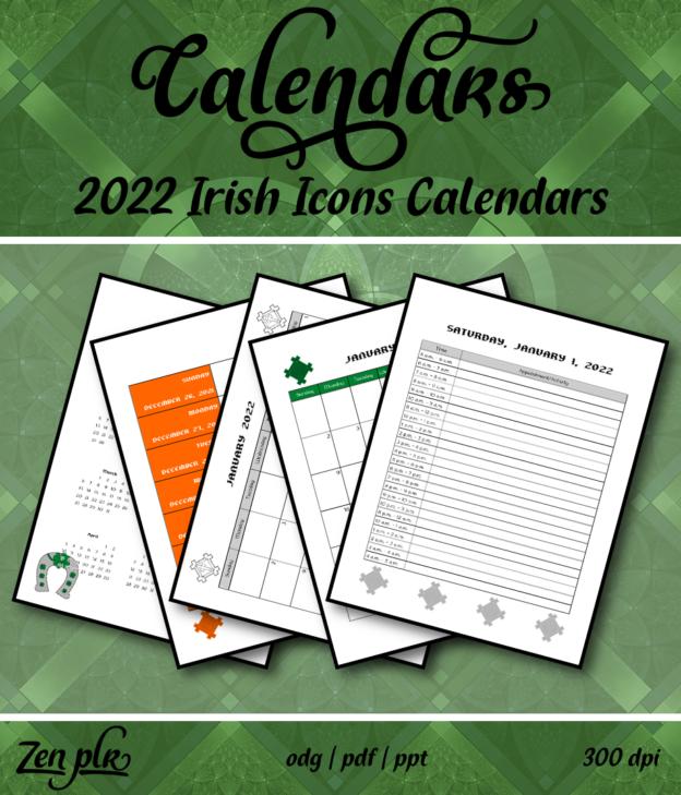 Zen PLR 2022 Irish Icons Calendars Front Cover