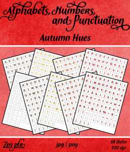 Zen PLR Alphabets, Numbers, and Punctuation Autumn Hues Front Cover