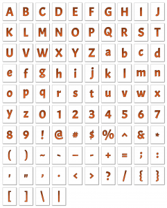 Zen PLR Alphabets, Numbers, and Punctuation Autumn Hues Orange Outlined Graphic