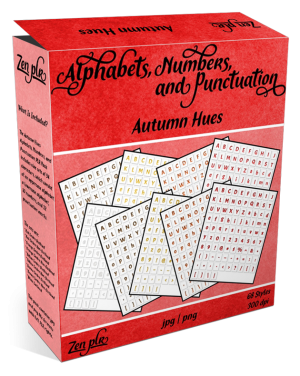 Zen PLR Alphabets, Numbers, and Punctuation Autumn Hues Product Cover