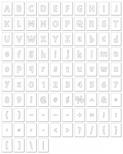 Zen PLR Alphabets, Numbers, and Punctuation Autumn Hues White Outlined Graphic