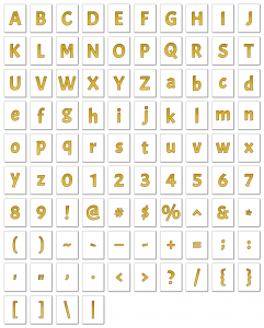 Zen PLR Alphabets, Numbers, and Punctuation Autumn Hues Yellow Outlined Graphic