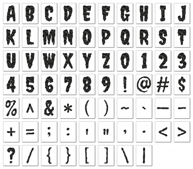 Zen PLR Alphabets, Numbers, and Punctuation Creepy Halloween Black Non-Outlined Graphic