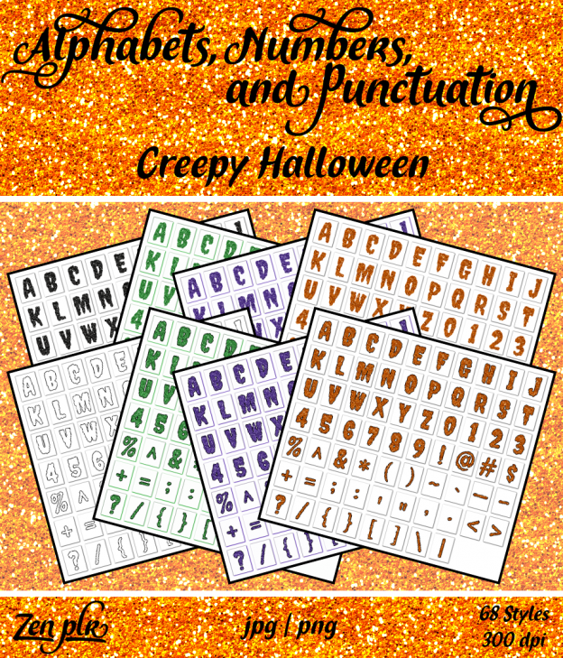 Zen PLR Alphabets, Numbers, and Punctuation Creepy Halloween Front Cover