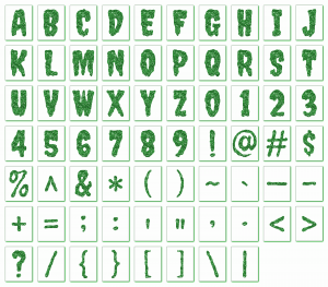 Zen PLR Alphabets, Numbers, and Punctuation Creepy Halloween Green Non-Outlined Graphic