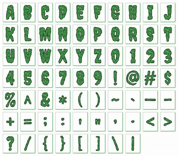 Zen PLR Alphabets, Numbers, and Punctuation Creepy Halloween Green Outlined Graphic