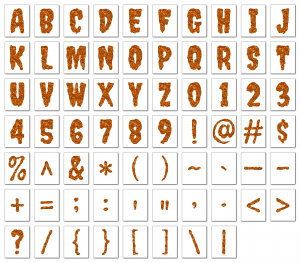 Zen PLR Alphabets, Numbers, and Punctuation Creepy Halloween Orange Non-Outlined Graphic