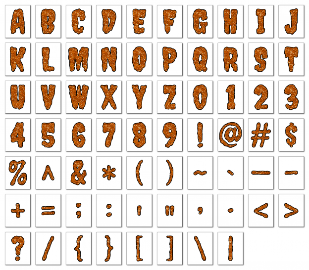 Zen PLR Alphabets, Numbers, and Punctuation Creepy Halloween Orange Outlined Graphic