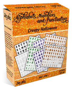 Zen PLR Alphabets, Numbers, and Punctuation Creepy Halloween Product Cover