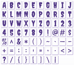 Zen PLR Alphabets, Numbers, and Punctuation Creepy Halloween Purple Non-Outlined Graphic