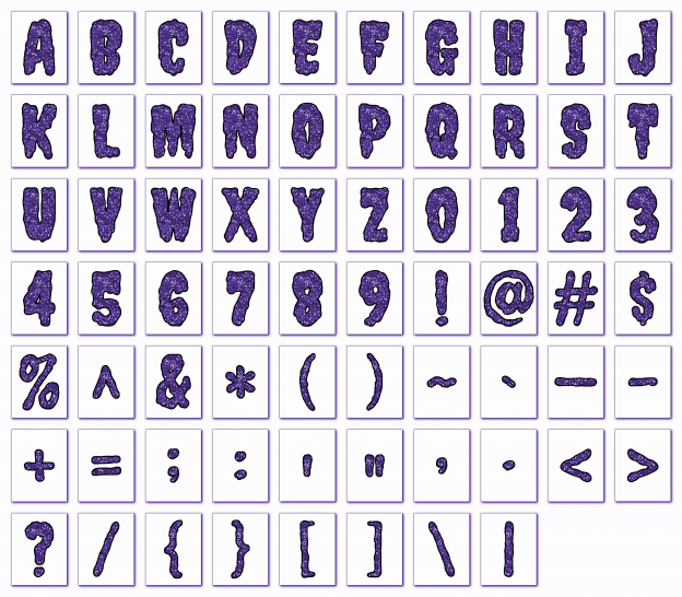 Zen PLR Alphabets, Numbers, and Punctuation Creepy Halloween Purple Outlined Graphic