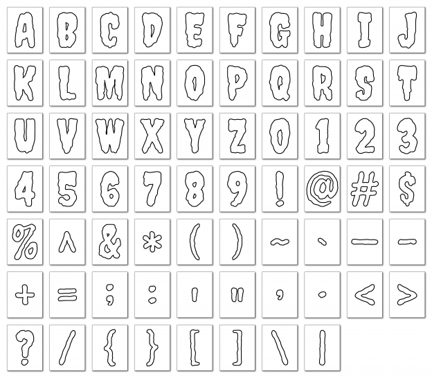 Zen PLR Alphabets, Numbers, and Punctuation Creepy Halloween White Outlined Graphic