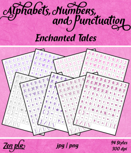 Zen PLR Alphabets, Numbers, and Punctuation Enchanted Tales Front Cover
