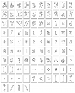 Zen PLR Alphabets, Numbers, and Punctuation Enchanted Tales White Outlined