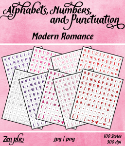 Zen PLR Alphabets, Numbers, and Punctuation Modern Romance Front Cover