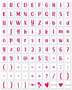 Zen PLR Alphabets, Numbers, and Punctuation Modern Romance Hot Pink Non-Outlined Graphic