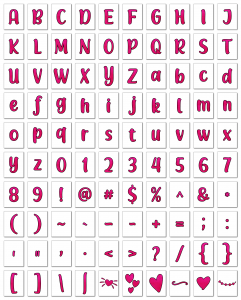 Zen PLR Alphabets, Numbers, and Punctuation Modern Romance Hot Pink Outlined Graphic