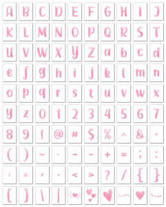 Zen PLR Alphabets, Numbers, and Punctuation Modern Romance Pink Non-Outlined Graphic