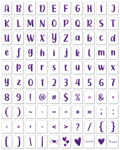 Zen PLR Alphabets, Numbers, and Punctuation Modern Romance Purple Non-Outlined Graphic