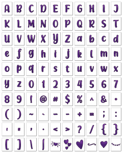 Zen PLR Alphabets, Numbers, and Punctuation Modern Romance Purple Outlined Graphic